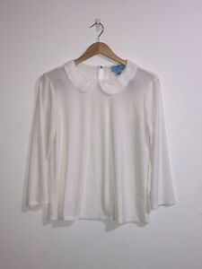 CECE Peter Pan Embroidery Collar Blouse Ivory Long Sleeve Shirt Top Size M