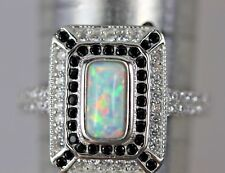 ART DECO STYLE OPAL RING RUB OVER SET IN SILVER 925 BLACK ONYX RING SIZE O