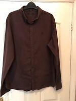 Genuine Men's Allsaints Shirt Size Large  Brown Cotton Very Good Condition