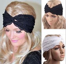 Women Lace BOHO 80' 70' Wide Big Cross Bandana look Hair Wrap Head band headband