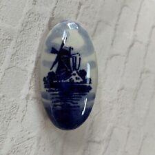 Vintage Ceramic Porcelain Dutch Holland Blue Oval Delft Windmills Brooch Pin