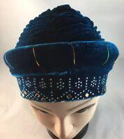 African Women Velvet Spandex Stretch Turban Hat Ladies Head Piece  ~ Teal Blue