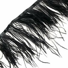 Ostrich Feathers Strung per 10cm - Black