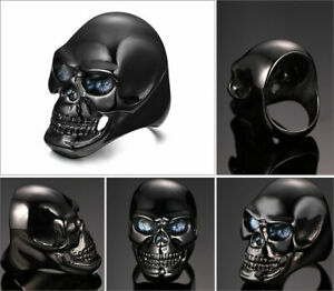 Edelstahl Ring Totenkopf Skull Pirat Harley Biker Rock Gothik schwarz