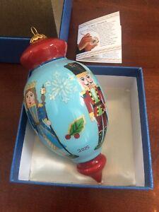 Pier 1 Li Bien Reverse Hand Painted Glass Christmas Ornament Nutcracker 2015 BOX