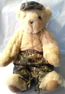 """Authentic Vermont Plush Teddy Bear 16"""" Army Camoflauge  Military Jointed USA"""