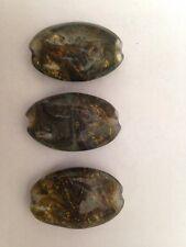 3 21X32mm Golden Swirl Czech Glass Oval Shaped Beads UNIQUE L@@K SALE