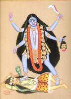 Goddess Kali Hindu Religious Painting On Cardboard Handmade Work Wall Hanging