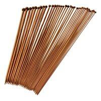 Set 36 Einzel-spitzen Stricknadeln aus Bambus von 18 verschiedenen Groesse ka OE