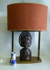 HUGE LAMP BALI WOOD CARVING MESSING 1970s REGENCY HOLLYWOOD MID CENTURY LUXURY