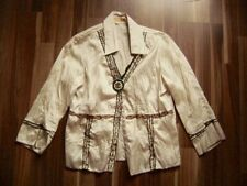 @ Biba by Escada @ Blouse Beige 3/4 SLEEVE Size L UK 14 Us 10 Gr. 40 Embroidered