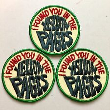 """Three, Vintage """"I Found You In The Yellow Pages, 3"""" Round (3) Patches"""