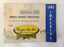 RARE 1963 CHRYSLER IMPERIAL OWNER SERVICE CERTIFICATE ~ NEVER USED
