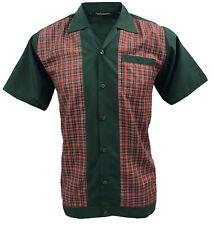 Rockabilly Fashions Men's Shirt Retro Vintage Bowling 1950 1960 Green Red Tartan