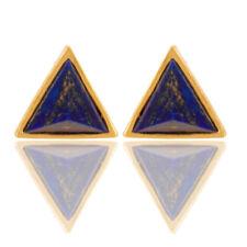Gemstone Pyramid Design Stud Earrings Handmade 925 Silver Gold Plated Lapis