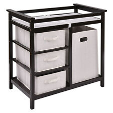 Espresso Infant Baby Changing Table w/3 Basket Hamper Diaper Storage Nursery New