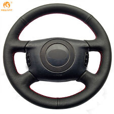 Black Genuine Leather Steering Wheel Cover for Audi A6 2000-2004 A8 2000-2002