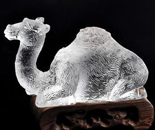 Crystal White Liuli Camel Paperweight Collections Decor Business Gift with Box