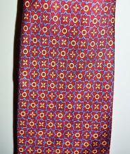 Vintage Burberry London Cravatta Rossi Blu Oro Fiore a Fiori Seta Uomo Cravatta