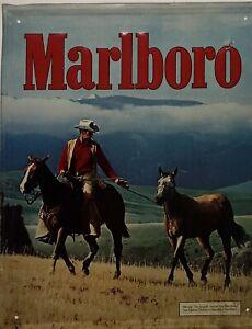 Vintage Marlboro Man Tin Metal Sign Cowboy 21.5 x 17.5 Advertising Philip Morris