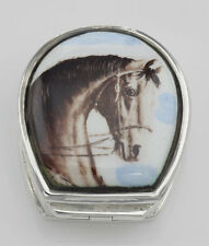 Class Porcelain Horse Head Sterling Silver Pillbox #Papps97361 Lot 20161626