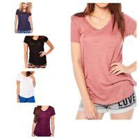 Women's Short Sleeve V-Neck Shirts Loose Tee Top T-Shirt