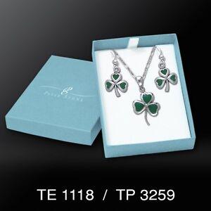 Celtic Shamrock .925 Sterling Silver Boxed Set Earrings Pendant by Peter Stone