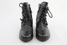 Sheridan Mia Black Leather Lace Up Boots With Flower Applique Size 40/10
