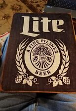 Miller Lite Bottle Blue Logo Brewiana Tin Sign 2182 12.5 X 16