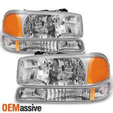 Fit 1999-06 GMC Sierra Yukon Clear Headlights + Bumper Signal Lamps Replacement