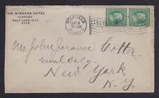 USA 1912 WINDSOR HOTEL COVER SALT LAKE CITY UTAH SENT FROM IDAHO TO NEW YORK