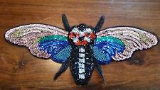 XL-Patch Insekt Biene Fliege bunt mit Pailletten und Perlen DIY Flicken