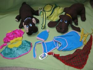 Vintage 1980s Pound Puppies CLONE Knock Off 2 PLUSH +Toy Time Fashion Outfit LOT