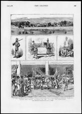 1882 Antique Print SPORT YACHTING ROUND WORLD RACE CEYLON SINGAPORE (247)