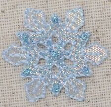 Medium Snowflake Pink Iridescent/Christmas - Iron on Applique/Embroidered Patch
