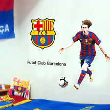 Barcelona Lionel Messi Logo Set Wall Sticker Mural Play Football Decal Art
