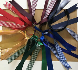 school gingham check streamer / cheer/ hairbows clasps clips