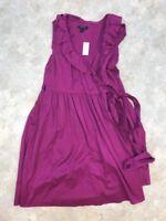 NWT Banana Republic Women's Purple Cotton Short Sleeve Midi Wrap Dress Sz 4