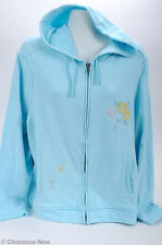 Pretty Blue Zip-front Hoodie XL Embroidered Floral Front Pocket Soft Cotton 7250
