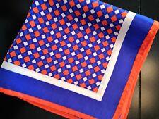 "New 14"" 100% silk pocket square--diamonds--bright blue, orange & white- Envoy"