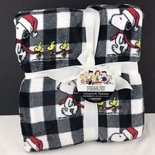 Snoopy Christmas Plush Blanket 90 x 90 Full Queen Black Buffalo Check