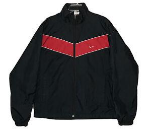 Nike Track Jacket Men's Large Black Full Zip Activewear Embroidered Swoosh *