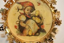 "2"" Hummel Christmas Ornament Girl with Chicks Gold Trim 1988"