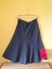 Size 12 blue grey check tartan vintage boho land girl look wide smart work skirt