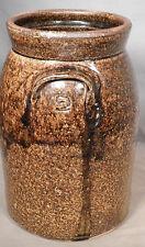 Antique Southern Alkaline Glaze Crock Tobacco Spit 2 Gallon Churn Stoneware Jug
