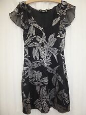 Oasis Silk Dress 8 black silver cocktail party evening chiffon short mini thin