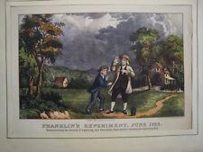 Electricidad.Franklin.Litografia original 1876