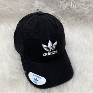 Adidas Originals Relaxed Strapback Baseball Hat Trefoil Logo Cotton Twill Black