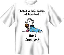 """Sheepworld T-Shirt: """"Schläfst du nachts auf deinem Bauch?"""", weiss, neu"""