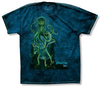 Mountain Octopus Blue Tie Dye Mens Adult T Shirt New Official Sea Life